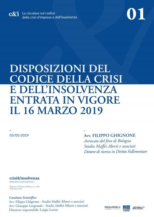Disposizioni codice della crisi e insolvenza - Estratto