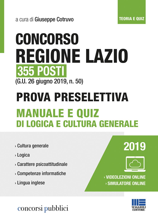 Concorso Regione Lazio 355 posti:Manuale e Quiz