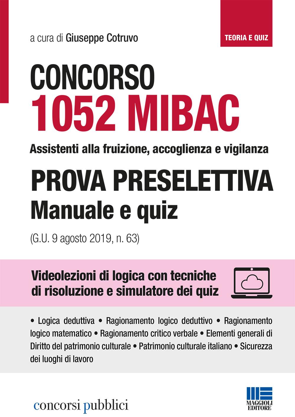 Concorso MIBAC 1052 Assistenti vigilanza - libro carta