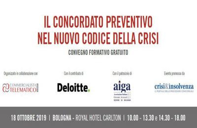 Il concordato preventivo nel nuovo codice della crisi - Convegno gratuito