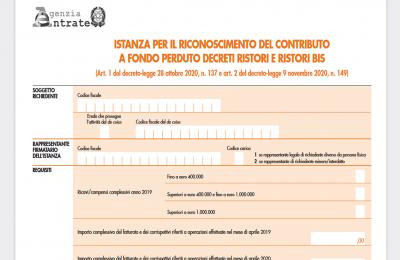 Contributo fondo perduto Decreti Ristori e Ristori Bis: come inviare la domanda