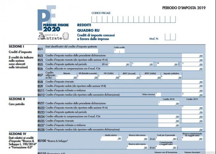 Crediti di imposta per le imprese nel quadro RU Modello Redditi 2020