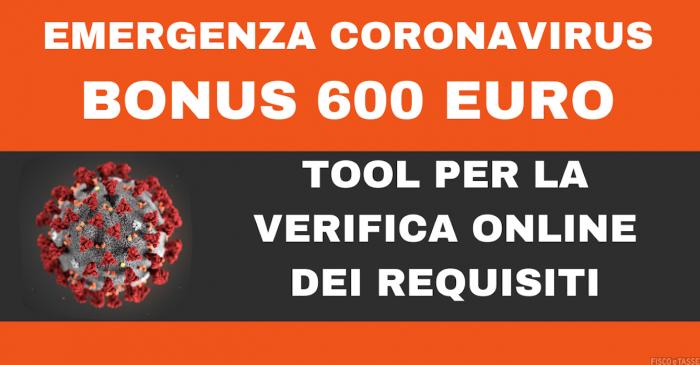 Calcolo per Bonus 600 euro Partite IVA Professionisti Decreto
