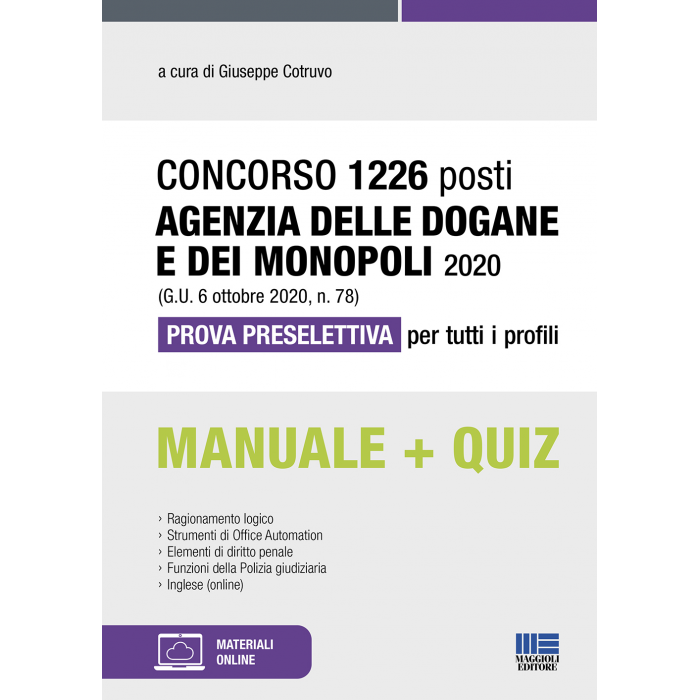 Concorso 1226 posti Agenzia  Dogane 2020 - libro carta